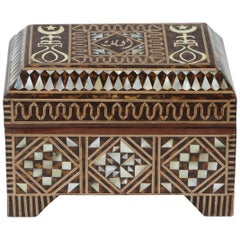 Large Middle Eastern Moorish Turkish Mother-of-Pearl Inlaid Jewelry Box