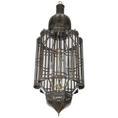 Large-Scale Moroccan Moorish Pendant Chandelier, Metal and Clear Glass