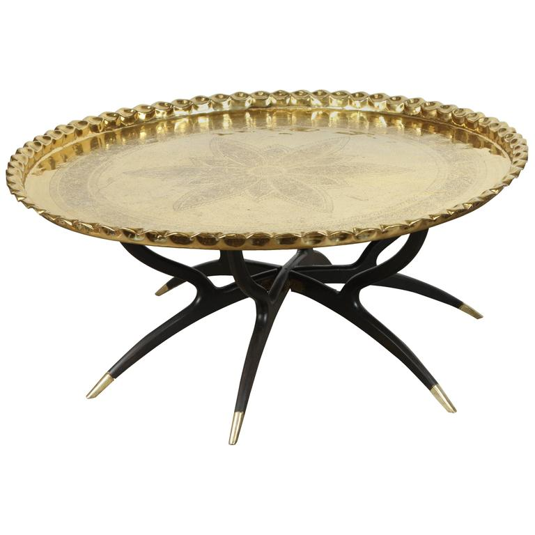 Large Polished Brass Tray Coffee Table On Spider-Leg At