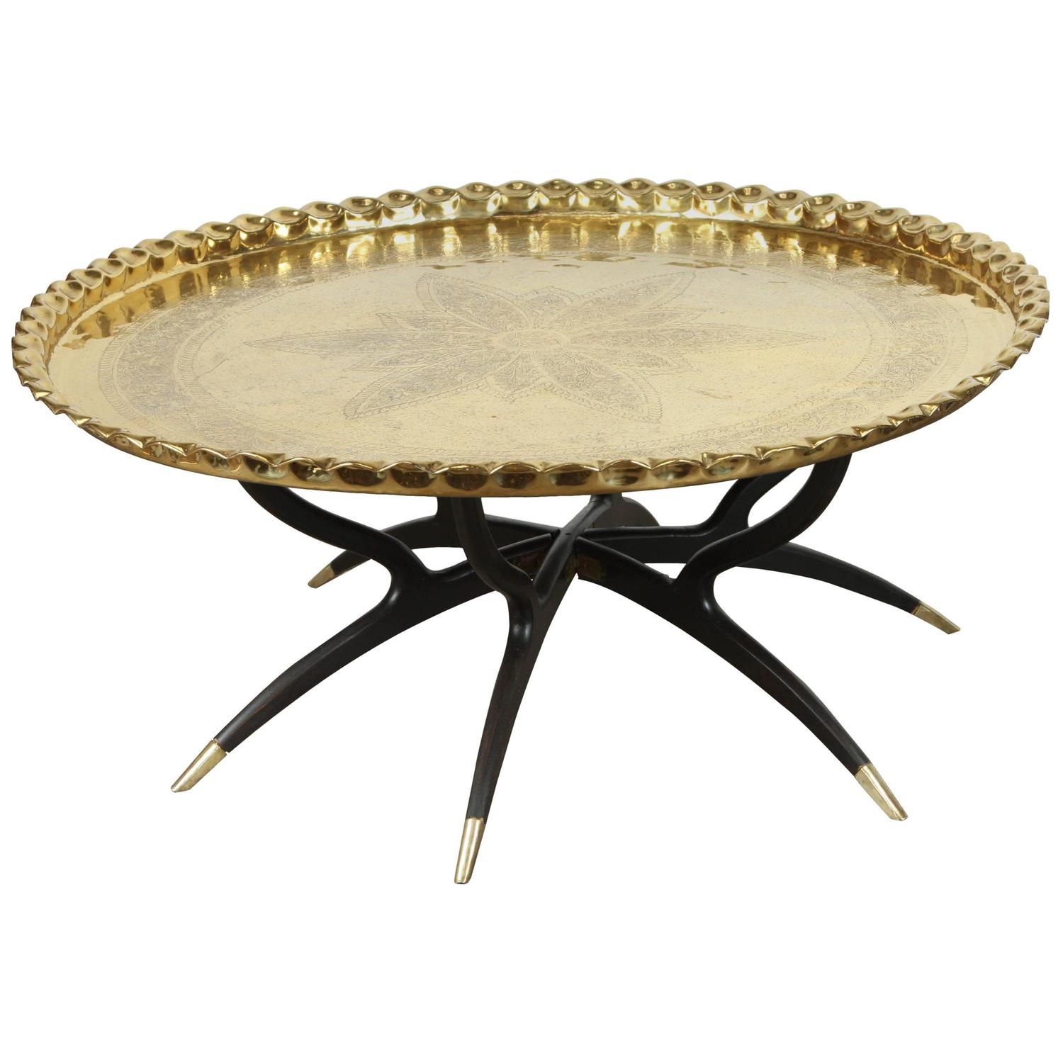 Brass Display Coffee Table: Large Polished Brass Tray Coffee Table On Spider-Leg For