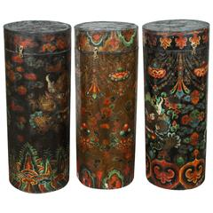 Set of Three Large Tibetan Wooden Barrels with Cover