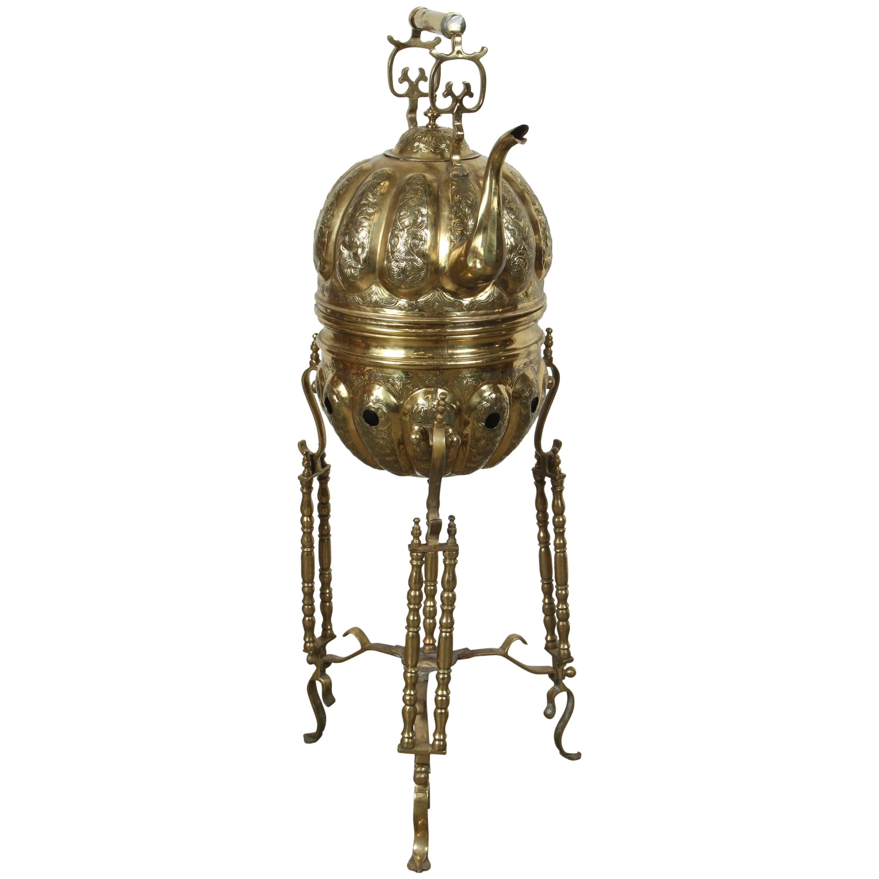 Moroccan Brass Tea Kettle on Stand Handcrafted in Fez Morocco
