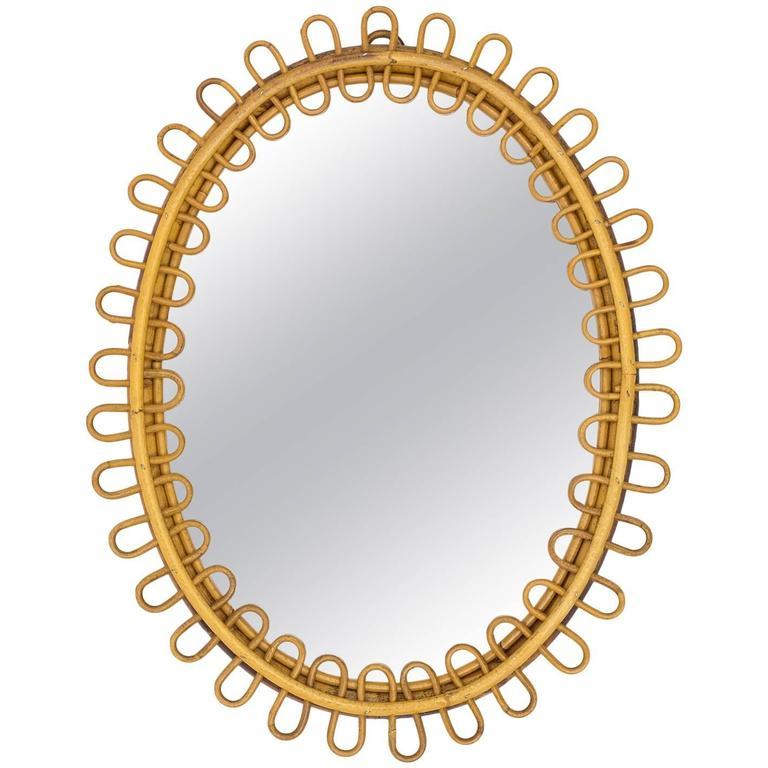 French Riviera Rattan Mirror, 1960s