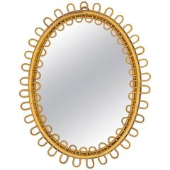 French Riviera Rattan Mirror, 1960s