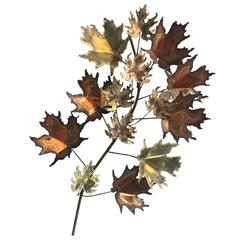 Curtis Jere Brass and Copper Maple Leaf Wall Sculpture