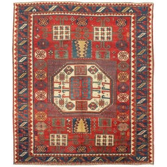 Antique Kazak Karachopf Rug with Octagon Medallion in Red, Blue and Green Tones