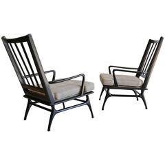 Pair of Sculptural High Back Lounge Chairs
