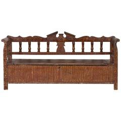 Hungarian Romanian Antique Painted Pine Bench, circa 1875