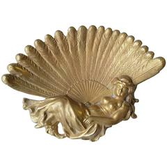 Art Nouveau Lady with a Peacock Fan, Brass Vanity/Pin Tray
