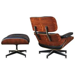 Highly Figured Rosewood Herman Miller Eames Lounge Chair and Ottoman