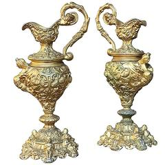 Pair of 19th Century Gilded Brass Hand-Cast Renaissance Revival Ewers