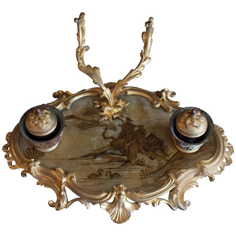 Fine French 18th Century Inkstand in Bronze Doré and Chinoiserie Lacquered Tray