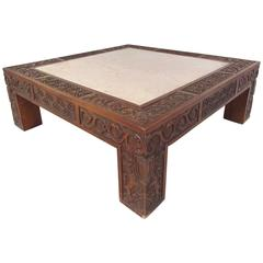 Elegant Vintage Marble-Top Coffee Table