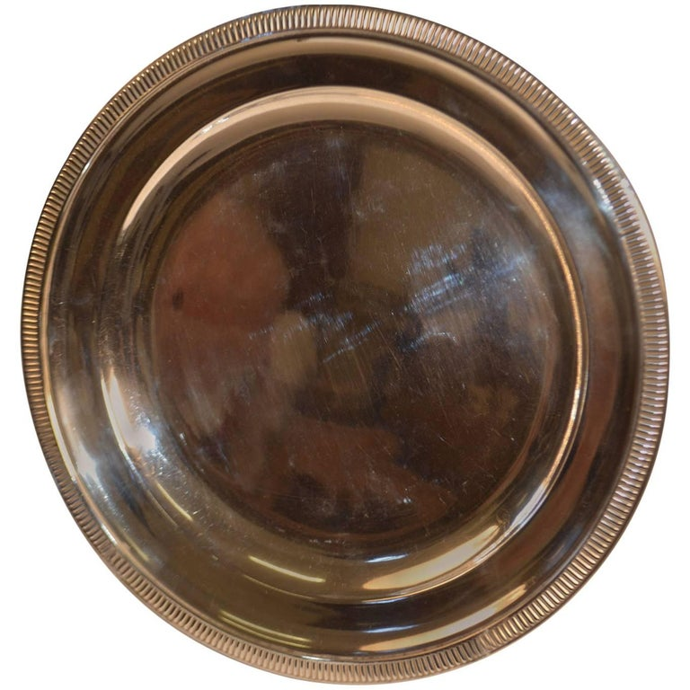 Mid-20th Century Silver Plated Round Serving Tray For Sale