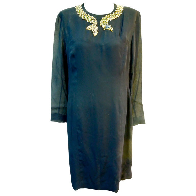 Gorgeous Alberta Ferretti Hand Beaded Crepe Dress For Sale
