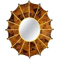 Vintage Starburst Faux Tortoise Shell Wall Mirror