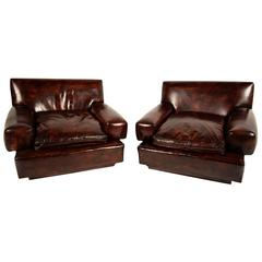 Pair of Mid-Century Modern Leather Club Chairs