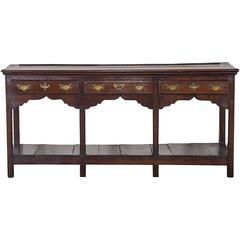 Antique English George III Oak Server Dresser Base, circa 1780