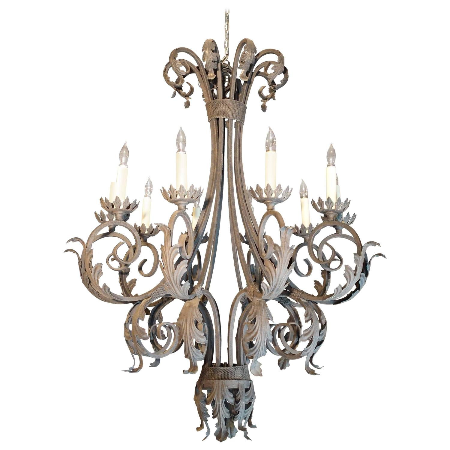 Painted Iron Acanthus Leaf Chandelier from France at 1stdibs