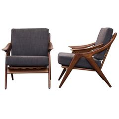 Pair of Mid-Century Organic Carved Teak Lounge Chair by De Ster