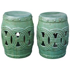 Pair of Large Vintage Glazed Chinese Terracotta Garden Seats