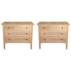 Pair of 1940s French Cerused Oak Commodes Attributed to Paul Dupré-Lafon