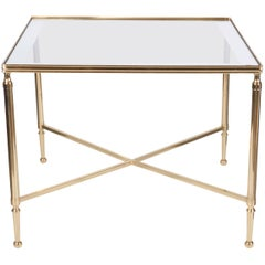 Christofle 1950s Neoclassical Brass and Mirror Top Table