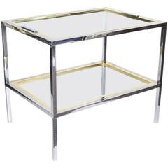 1970s Modern Italian Chrome, Brass and Glass Tray Table