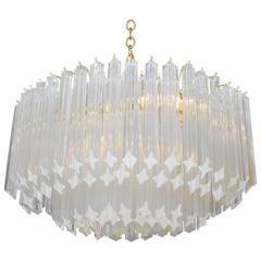 Elliptical Murano Quatrefoil Crystal Chandelier with Brass Armature