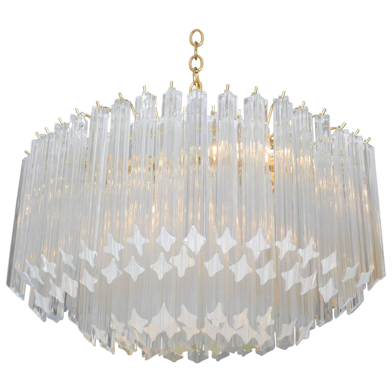 Elliptical Murano Quatrefoil Crystal Chandelier With Brass