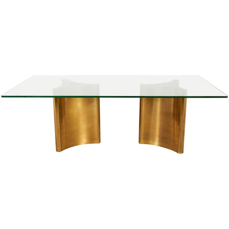 Double Brass Pedestal Dining Table by Mastercraft