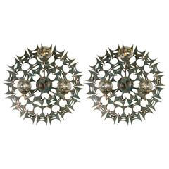 Impressive Pair of Sunburst Wall Sculpture Sconces by Marc Weinstein