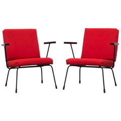 Pair of Wim Rietveld 1401 Lounge Chairs for Gispen