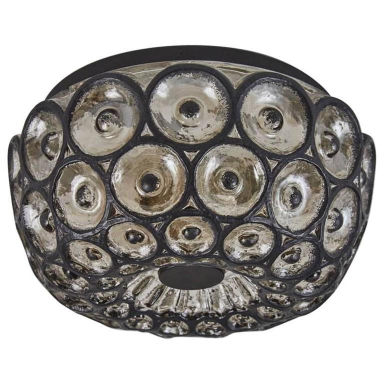 Iron and Glass Flush Mount 1