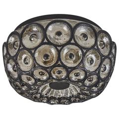 Iron and Glass Flush Mount