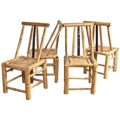 Real Bamboo Asian Dining Chairs Set of Four