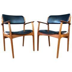 Pair of Teak Model 50 Dining Chairs by Erik Buch for Oddense Maskinsnedkeri