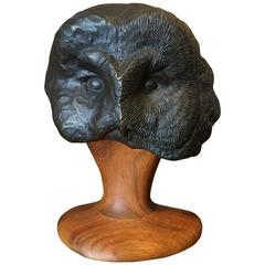 Grant Goltz Bronze and Wood Owl Sculpture