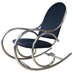 Curvaceous Upholstered Chrome Rocking Chair in the Style of Thonet