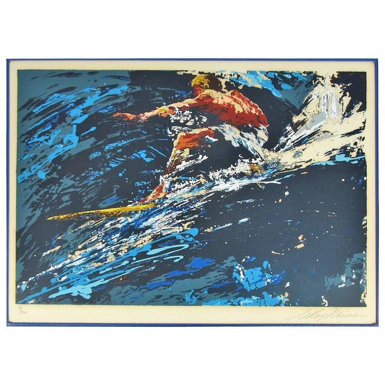 "Signed and Numbered 17/300 Leroy Neiman Serigraph ""Surfer"" 1973 1"
