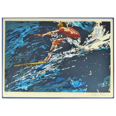 "Signed and Numbered 17/300 Leroy Neiman Serigraph ""Surfer"" 1973"