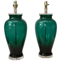 Pair of Blenko Style Lamps