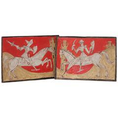Pair Petucco Italian Mid-Century Horseman Knight Wall Tile Plaques Marini