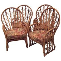 Rattan Wicker Arm Dining Chairs Vintage Set of 4 Faux Bamboo Palm Beach Patio
