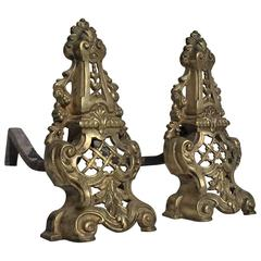 French Louis XV Rococo Style 19th Century Bronze Andirons, Fire Dogs