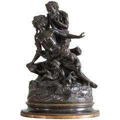 Bronze Sculpture of a Nymph, Satyr and Putti after Clodion