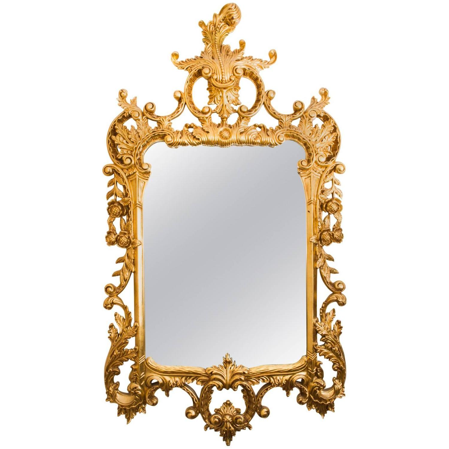 Beautiful decorative french carved giltwood mirror for for Fancy mirrors for sale