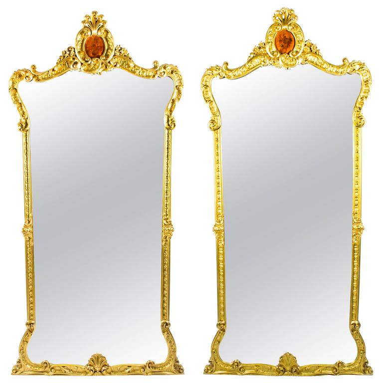 Early 20th Century Pair Of French Giltwood Pier Mirrors