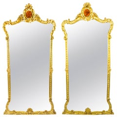 Antique Victorian Pair of French Giltwood Pier Mirrors 19th c