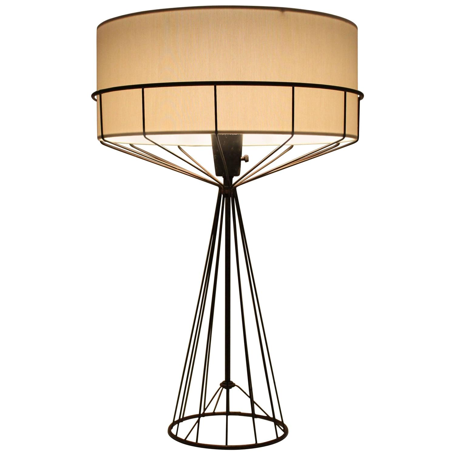 Bent wire base sculptural cone shape table lamp for sale at 1stdibs tony paul table lamp from the wire series mid century modern 1950s greentooth Images